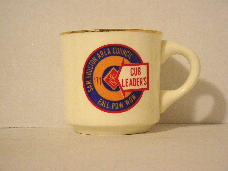 BSA 1970's Boy Scout Coffee Mug Cup Sam Houston Area 1971 Cub Fall Pow Wow