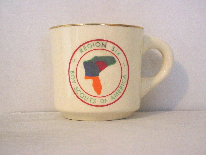 BSA 1970's Boy Scout Coffee Mug Cup Region Six Boy Scouts of America