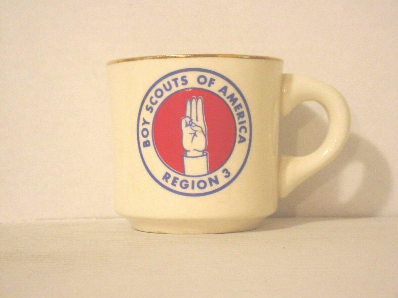 BSA 1970's Boy Scout Coffee Mug Cup Region 3 Boy Scouts Of America
