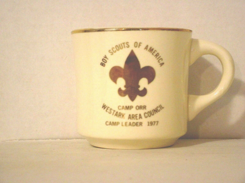 BSA 1970's Boy Scout Coffee Mug Cup Camp Orr Westark Area Council 77 Camp Leader