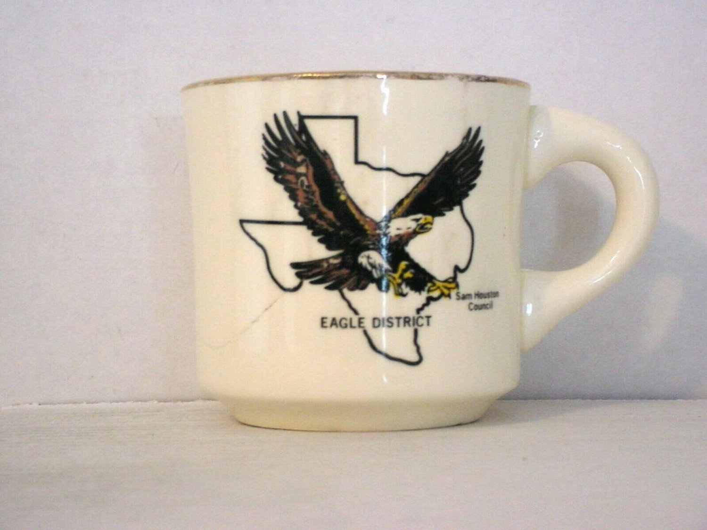 BSA 1970's Boy Scout Coffee Mug Cup Sam Houston Area Council Eagle District