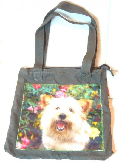 Cute shoulder bag shopping tote purse white dog puppy print blue