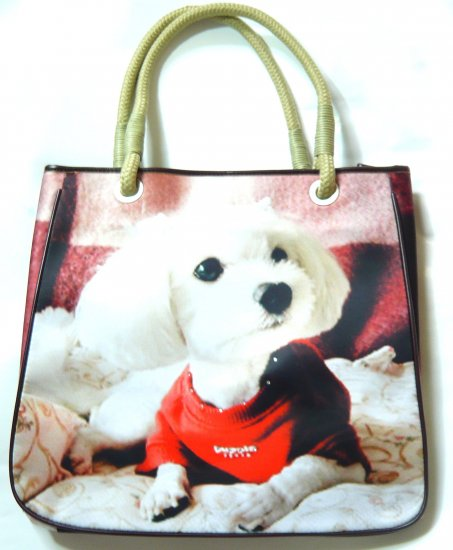 Valentine's Day gift shoulder bag tote purse white dog puppy print blue cute
