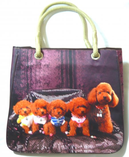 Cute ladies shoulder bag tote purse dog puppies family print brown handbag