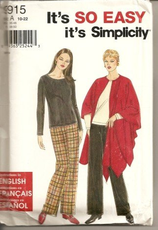 It's So Easy - - It's Simplicity 9915 - Misses Pants, Wrap and Knit Top - Szs. 10-22