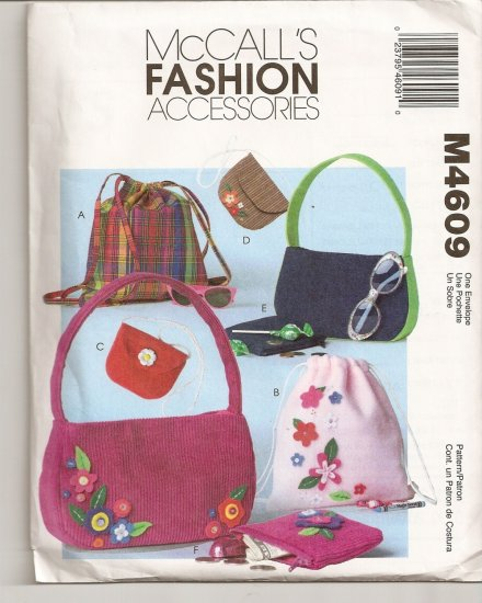 McCALLS FASHION ACCESSORIES GIRL'S BACKPACKS AND BAGS PATTERN M4609
