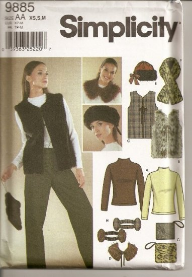 Lined Vest, Assessories and Top - Simplicity 9885 -Sizes XS - M. Cute Stuff