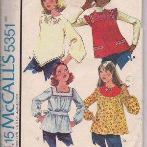 Vintage Girls Tops - McCalls 5351 - Size Medium