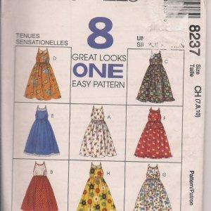 Easy Pattern McCalls 8237 - Girls Sundress - Sz. 7, 8, 10