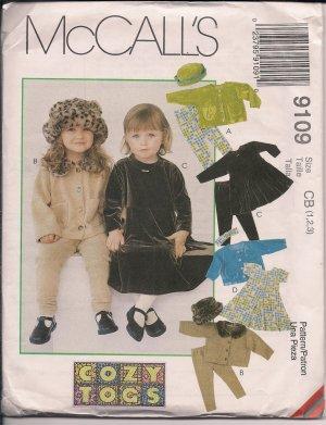 Cozy Togs - Girls' Jacket, Dress, Pants, Hat, Headband - McCall's 9109