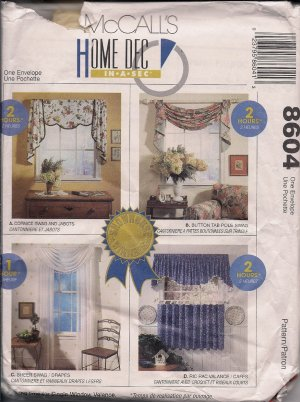 McCalls 8604 Valances, Curtains, Window Treatments