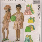 Easy McCalls 8743 Girls Dress, Top, Shorts and Rompers Sizes 4, 5, 6