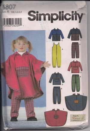 Toddlers Separates for Winter Simplicity 5807 Sz.1/2-4, poncho, jacket, overalls