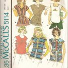 Vintage Mccall's 5114 Misses Tops and Vests - Size Small
