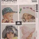 Vintage McCalls 8662 Playful Practical Hats for Infants, Teens