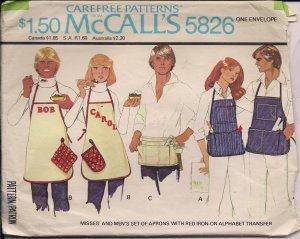 1977 Vintage McCalls  5826 Mens & Womens Apron