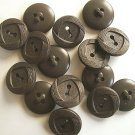 Chocolate Brown Vintage Buttons, 2 Hole, Round Swirl Design