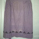 Vintage Purple and White Gingham Fabric  Black Cross-Stitch Half  Apron