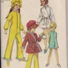 Vintage Simplicity 8528 Girls Sleepsuit, Wrap Robe & Hat, Size 10