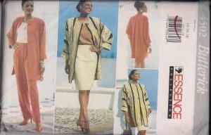 Butterick Essence Collection 4502-Misses jacket, Skirt Top-Sz.14-18