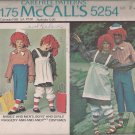 Raggedy Ann & Andy Vintage McCalls 5254 Childrens Costumes Sz 2-4