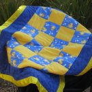 Yellow and Blue Ducky Baby Quilt