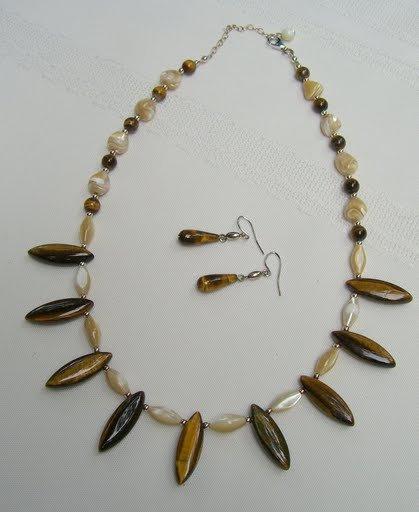 Tiger Eye Handmade Necklace Set 98-1706