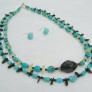 Turquoise and Agate Nugget Handmade Necklace Set 90-1212