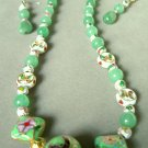 Cloisonné Pendant with Aventurine Hand Beaded Necklace Set 177 - 203