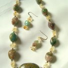 Natural Turquoise Pendant Necklace Set 185 - 1819