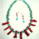 Bamboo Branch Coral and Turquoise Nugget Necklace Set 200-417