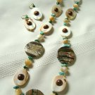 Picasso Jasper Disc Pendants with Mother of Pearl, Wood and Turquoise Necklace Set 230-819