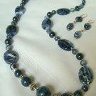 Natural Sodalite Stone Necklace Set 292-1008