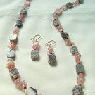 Brazilian Opal Agate, Cherry Quartz and Botswani Agate Necklace Set 300-1422