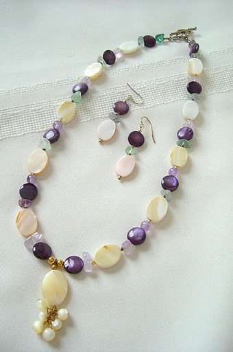 Mother of Pearl Pendant, Purple Shell Coin, and Fluorite Necklace Set 3221
