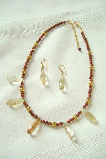 Rutilated Quartz Faceted Teardrop Pendants, Goldstone Necklace Set 3239