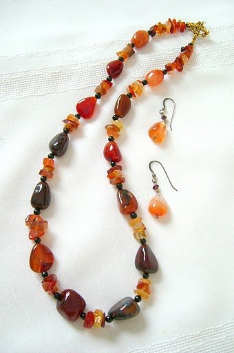 All Mix � No Match Carnelian Onyx and Vermeil Necklace 3254