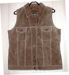 Tailored Heavy Brown Suede Vest with Collar-New