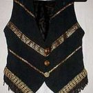Renaissance Fabric Fringed Vest with Gold Trim