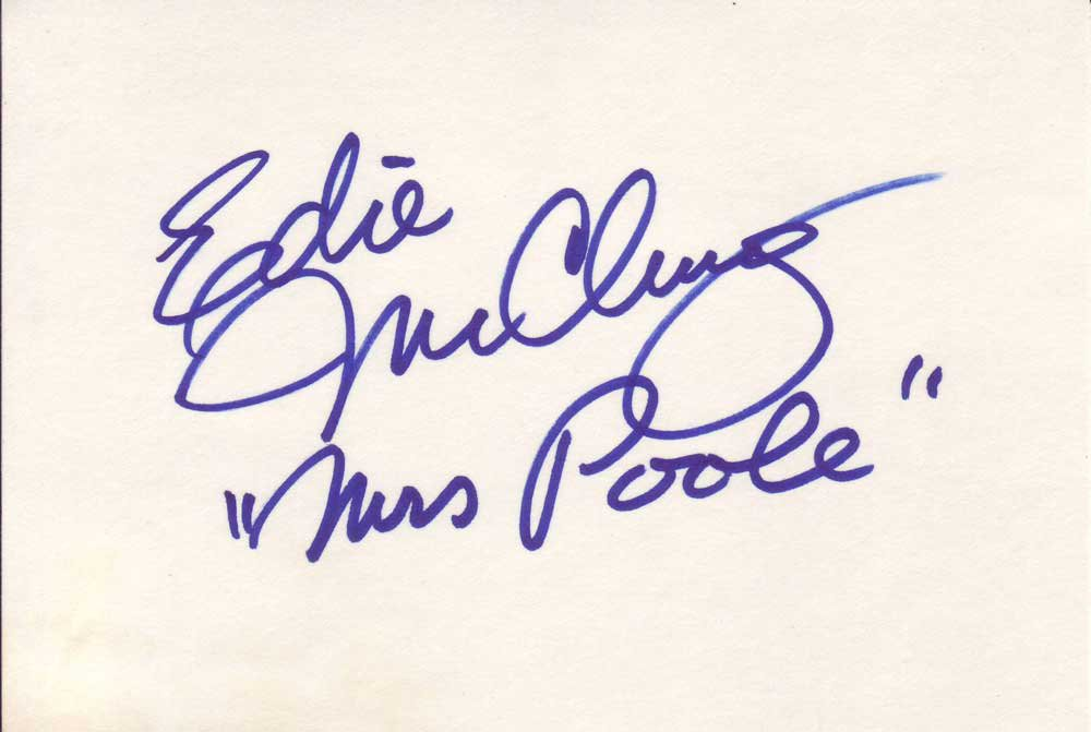 Edie McClurg Autographed Index Card