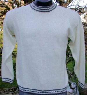 Alpaca Sweater  Pullover White Link Knit Med/Lg  Made in Peru