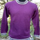Alpaca Sweater Link Knit Purple Med/Lg Made in Peru