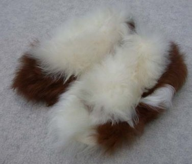 Alpaca Fur Slipper Brown and White  Youth 8 - 8 1/2