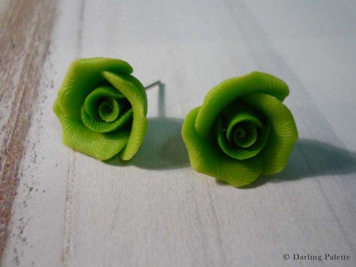 Soft Green Rose Stud Earrings