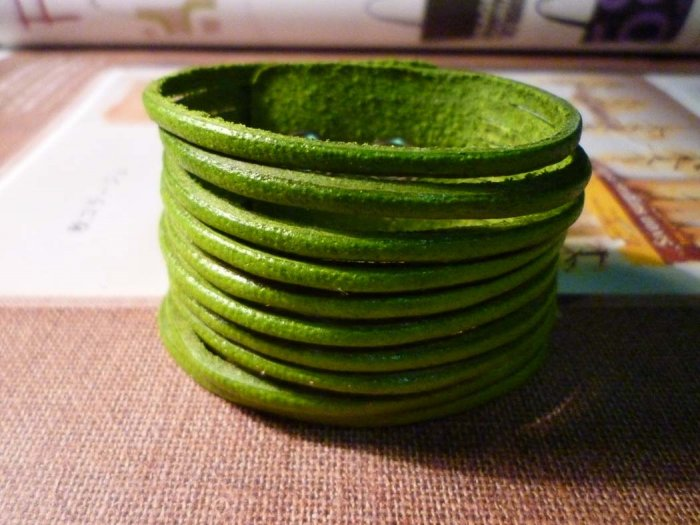 Bright Green Leather Bangles