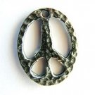 Hammered Peace Sign - Pewter Pendant (PW43)