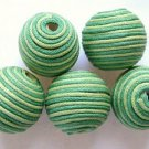 Cotton Wrapped Bead - Green & Yellow Lime 24mm (CT126)
