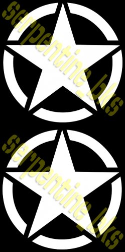 """JEEP STAR DECAL CIRCLE US ARMY USMC MILITARY WILLYS 15"""""""