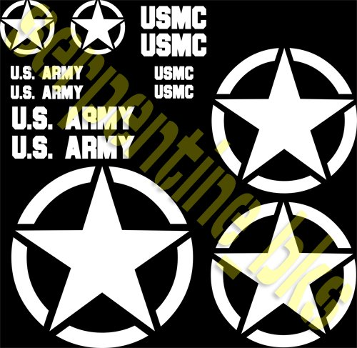 JEEP STAR DECAL KIT CIRCLE US ARMY USMC MILITARY WILLYS