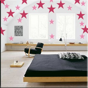 32 2 inch Stars Vinyl Wall Decor Stickers